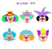 Masque de 2019 caractères de clowns, modèle juif d'icônes de carnaval de vacances de festival heureux de Purim illustration stock