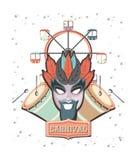 Masque de carnaval avec la roue panoramique illustration libre de droits