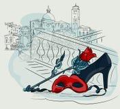 Masque de carnaval avec une fleur de rose dans la perspective des maisons de Venise Vecteur dessinant l'illustration à main levée illustration de vecteur