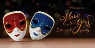 Masque de carnaval de vecteur avec le lettrage Invitation au carnaval avec le fond brillant coloré Photographie stock libre de droits