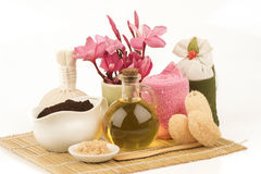 Masque de corps avec des marcs de café, sucre, huile d'olive photos stock