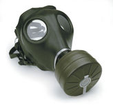 Masque de gaz sur le blanc Photos libres de droits
