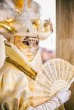 Masque de goldl de Carniva à Venise photo libre de droits