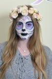 Masque de mort mexicain de maquillage Photos libres de droits