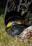 Masque de Paintball avec la peinture de splatterd là-dessus Photo stock