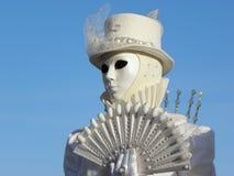 Masque de portrait avec la fan, carnaval de Venise Photo libre de droits