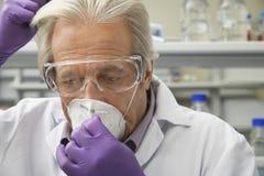 Masque de Putting On Safety de scientifique Photo libre de droits