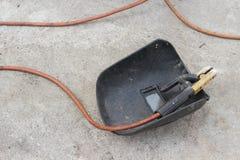 Masque de soudure, toujours la vie de tige-support avec le câble et électrode Photos libres de droits