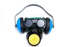Masque de trains de sécurité, protège-oreille et lunettes Image libre de droits