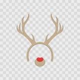 Masque drôle avec des klaxons de renne de Noël d'isolement sur à carreaux transparent, illustration Bandeau mignon de bande dessi Images libres de droits