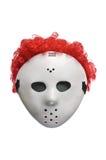 Masque effrayant d'hockey de Halloween avec les cheveux rouges Images stock