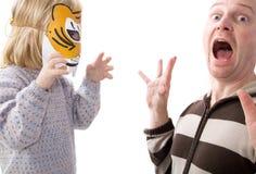 Masque effrayant de tigre de surprise de choc Image libre de droits