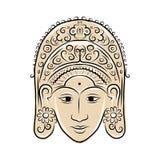 Masque en bois de femme indonésienne de danseur, croquis pour Image stock