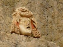 Masque en pierre antique à Herculaneum, Italie Photo libre de droits
