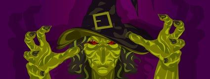 Masque et mains de Halloween de costume de sorcière illustration libre de droits