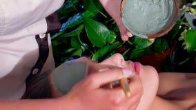 Masque facial d'argile au visage femelle au salon de beauté asiatique banque de vidéos