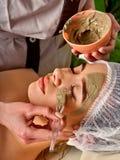 Masque facial de boue de femme dans le salon de station thermale Massage de visage photographie stock