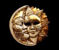 Masque, la lune et le soleil Photo libre de droits