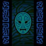 Masque maori avec le modèle tribal illustration stock