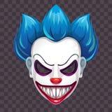 Masque mauvais effrayant de clown sur le fond transparent illustration stock