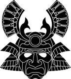 Masque monochrome de samouraï illustration de vecteur