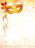 Masque orange de carnaval sur la lumière rose de bokeh Photos libres de droits