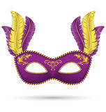 Masque pourpre avec des plumes Photo stock