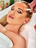 Masque protecteur de collagène Traitement facial de peau Femme recevant la procédure cosmétique photographie stock libre de droits