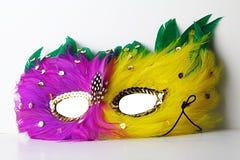 Masque rose et jaune de domino de carnaval de plume avec le contour vert de plume et les décorations jewellry d'or photos libres de droits