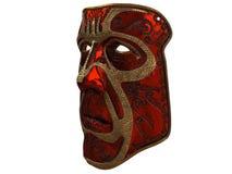 Masque rouge de fer avec des biseaux d'ornement et d'or sur un fond blanc d'isolement illustration 3D Photographie stock libre de droits