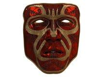 Masque rouge de fer avec des biseaux d'ornement et d'or sur un fond blanc d'isolement illustration 3D Image stock