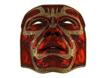 Masque rouge de fer avec des biseaux d'ornement et d'or sur un fond blanc d'isolement illustration 3D Photo stock