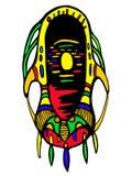 Masque surréaliste et multicolore, d'isolement sur le fond blanc Illustration de Vecteur