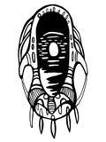 Masque surréaliste et noir et blanc sur le fond blanc Illustration de Vecteur
