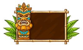 Masque tribal hawaïen traditionnel de Tiki illustration libre de droits