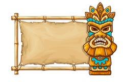 Masque tribal hawaïen traditionnel de Tiki illustration stock