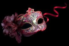 Masque vénitien rouge de ci-avant Photographie stock libre de droits