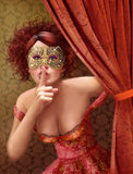 Masquerade. Cute girl in masquerade mask. Stock Image