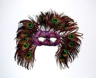 Masquerade. An old-fashioned mask for a masquerade ball covered in peacock feathers Stock Images