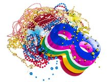 Masquerade accessories for Mardi Gras parties. Studio Photo royalty free stock photography
