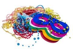 Masquerade accessories for Mardi Gras parties. Studio Photo stock images
