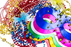 Masquerade accessories for Mardi Gras parties. Studio Photo royalty free stock photos