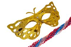 Masquerade accessories for Mardi Gras parties. Studio Photo stock photography