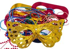 Masquerade accessories for Mardi Gras parties. Studio Photo royalty free stock images