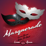 Masquerade ball party invitation poster. In vector vector illustration