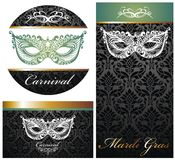 Masquerade ball party invitation posters Royalty Free Stock Photos