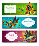 Masquerade Banners Set. Masquerade realistic horizontal banners set with carnival symbols isolated vector illustration Stock Photos