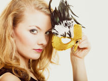 Masquerade. Beautiful girl in carnival mask Royalty Free Stock Image