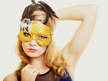 Masquerade. Beautiful girl in carnival mask Royalty Free Stock Photo