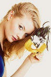 Masquerade. Beautiful girl in carnival mask Stock Photography